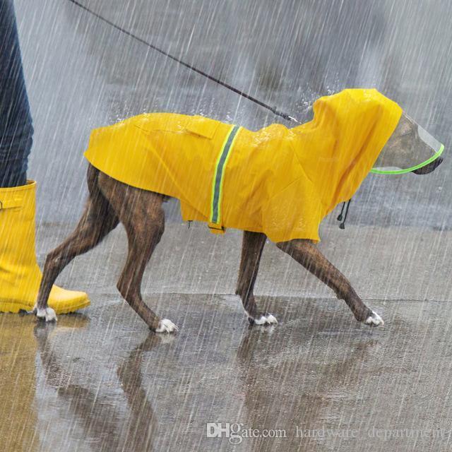 Waterproof Large Dog Raincoat Reflective Dog Rain Coat Jacket Pet Clothes RainCoats Hooded For Medium Big Dogs Labrador 2XL-5XL