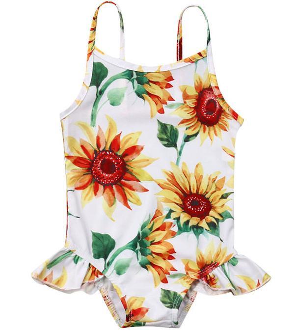 2020 طفلة ملابس السباحة ملابس الرضع عباد الشمس الاستحمام دعوى طفل الصيف قطعة واحدة بحر الأطفال البدلة 0-24 متر