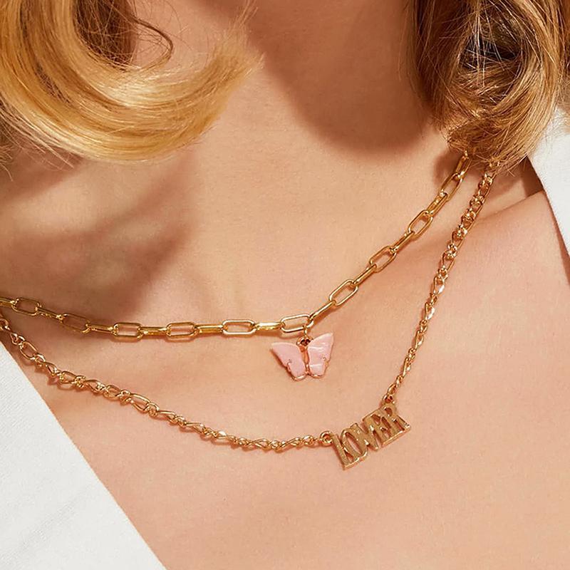 Fashion Doppelkette Engel Babygirl Anhänger Brief Halskette Frauen Rosa Acryl Schmetterlings-Halskette Weinlese-Layered Schmuck