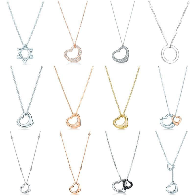 Original 100% 925 Sterling Silber Klassische Liebe Doppel Liebe Ring Form Halskette Anhänger Rose Gold Silber Elegante Halskette Schmuck