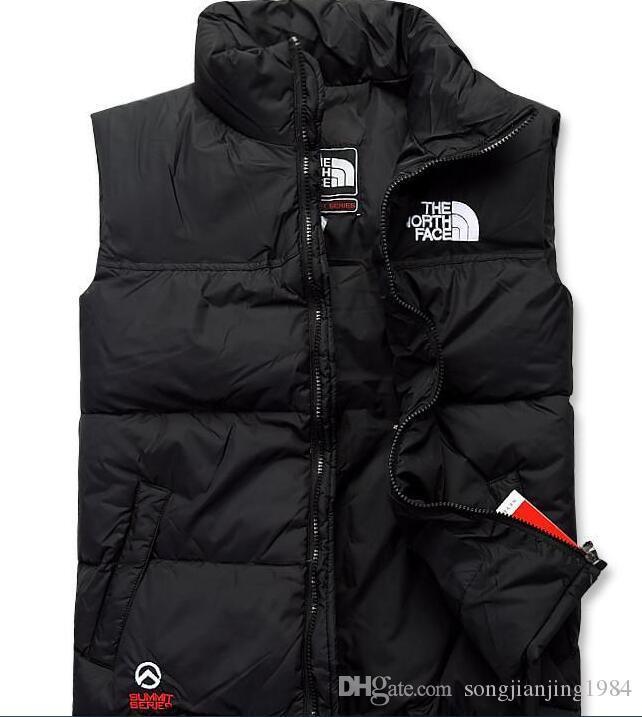 Toptan The North erkekler ceket Vest aşağı yelek Erkek Spor ceketler Bombacı Yaka Fermuarlar Açık yüz Coats Klasik moda kolsuz aşağı