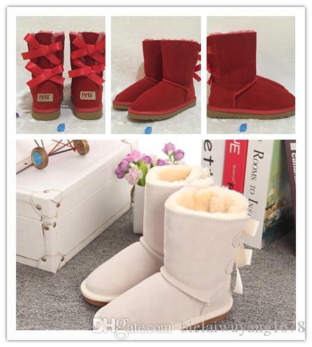 Yeni Kış Çocuk kar botları Avustralya Stil Su geçirmez İnek Süet Deri Kış Kızlar Açık Boots Marka IVG Boyut EUR 21-35