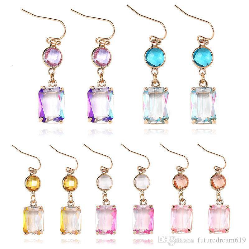 New Handmade Crystal Glass Gradient colorido pingente brincos Dangle Geometria Retângulo banhado a ouro Ear Hook Eardrop Mulheres Brinco Jóias