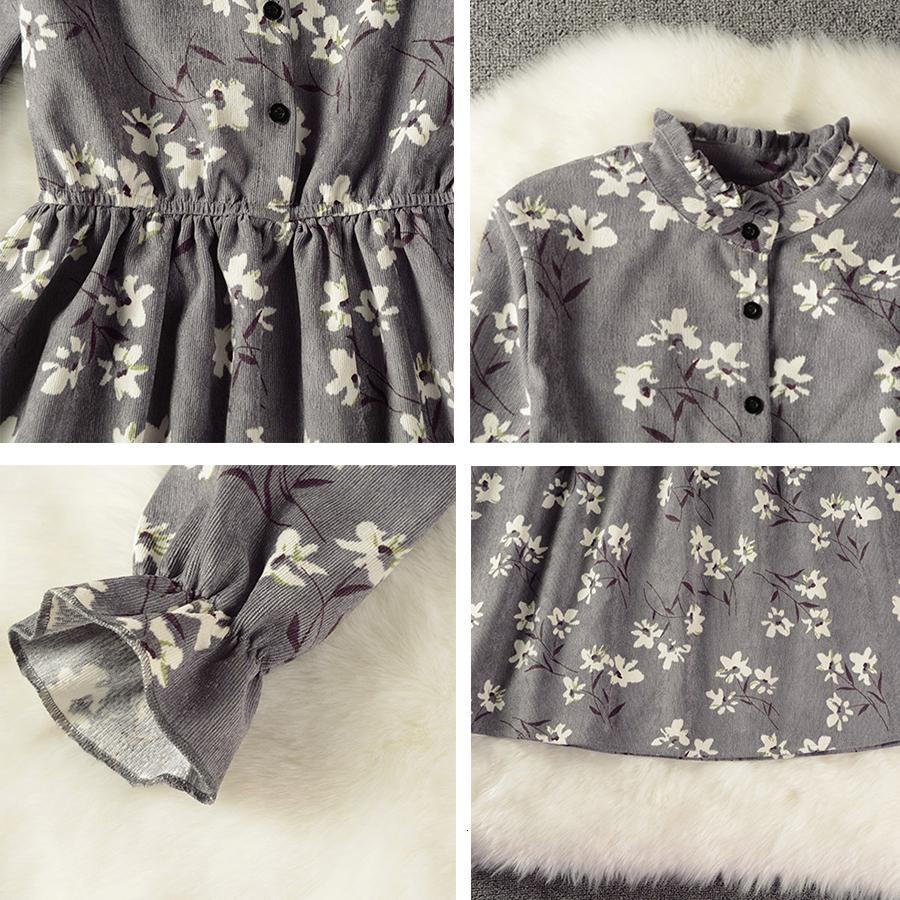 Женщина платья женской одежды Вельвет Высокий эластичный пояс Винтаж Стиль одежды Цветочные рукава Цветочный Плед платья Тонкий Весна платье 18