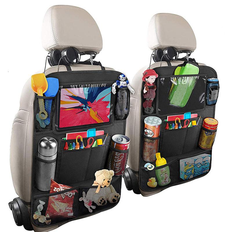 AZAMIA Back Seat Car Organizers and Storage for Kids with Touch Screen Tablet Holder 2 Packs 9 Storage Pockets Car Backseat Organizer Backseat Organizer Kick Mats for Kids Travel Accessories