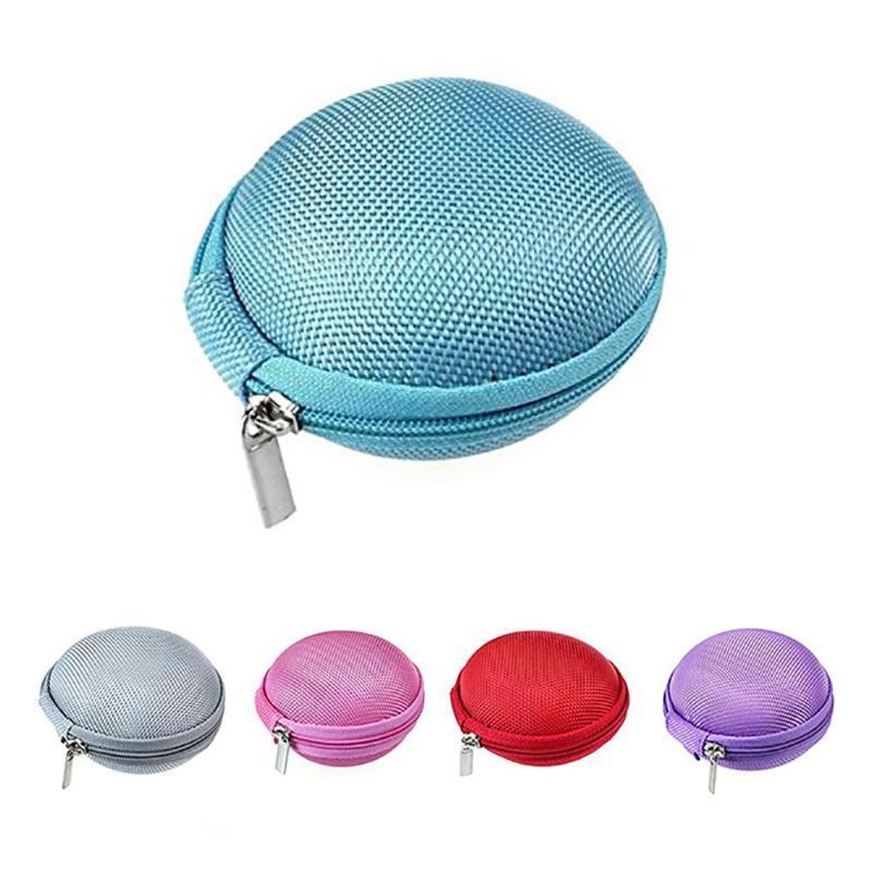 Portable ronde pochette de rangement Sac Oreillettes écouteur Fermeture Éclair