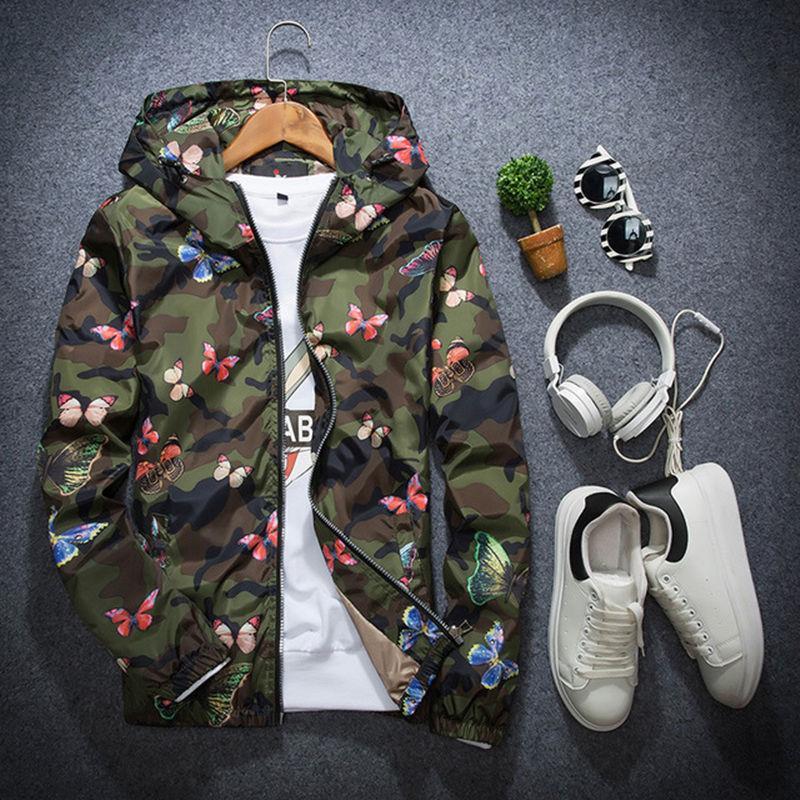 Yüksek Kaliteli Erkek Yaz Kamuflaj Rüzgarlık Ceket İnce Erkek Kamuflaj Coats 2020 Yeni Bahar Sonbahar Kapşonlu Kelebek WINDBREAKER