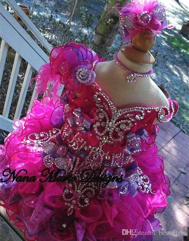 2020 meninas bonitos Pageant Mini Bola Vestidos V Neck com Beads Rhinestones Ruffles organza cristal da criança do queque Vestidos Kids Wear BA4465 Formal