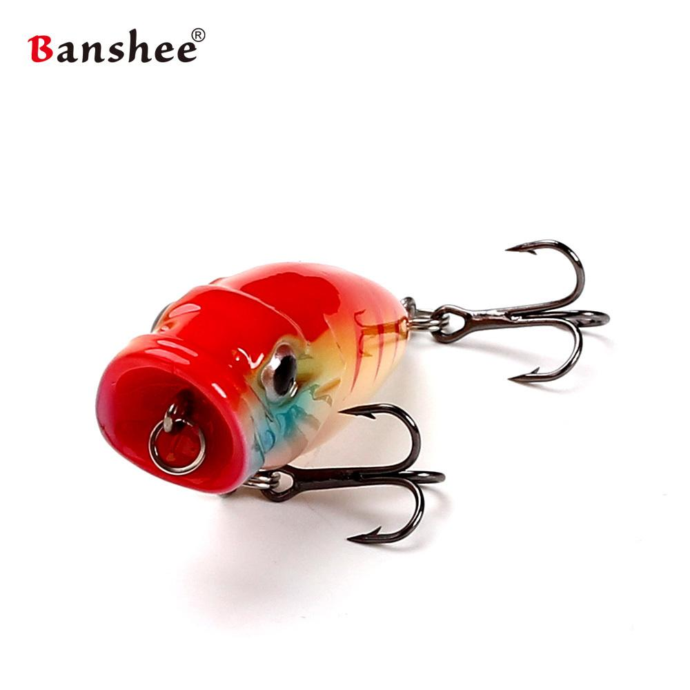 Banshee 45mm 3.5g Top Water CP Fishing lure Bait Hard Artificial Bait Mini popper for Small mouth Bass Trout Bluegill Y18101002