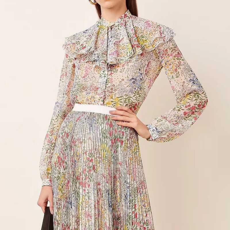 2020 camisa de verano para mujer de alta calidad de seda de manga larga con volantes impreso elegante camisa boho para mujer