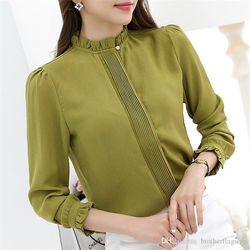 Novas mulheres blusa Chiffon Sólida Camisa Gola plus size moda casual blusa de manga comprida magro mulheres camisas