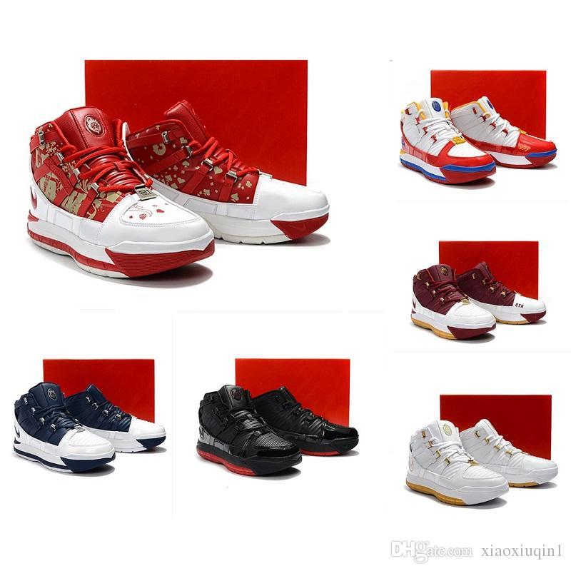 Qu'est-ce que le Lebron 3 hommes chaussures de basket à vendre rétro MVP Noël BHM Oreo jeunes enfants garçons 16 bottes avec la taille de la boîte 7-12