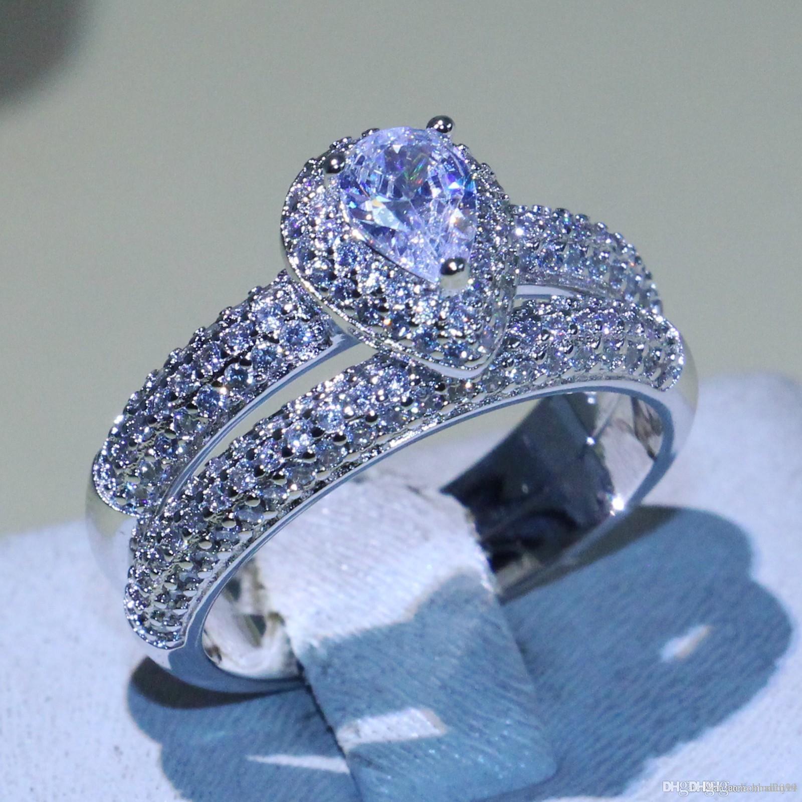 Nlm99Brand Nuovo choucong Victoria monili di lusso 925 Sterling Silver taglio della pera 5A CZ diamante Sona pavimenta l'anello del partito nuziale Set per le donne