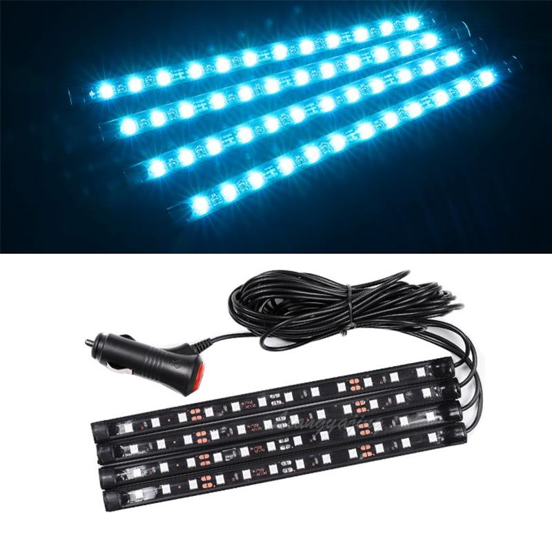 Car LED Interior Atmosphere Lights Dash Floor Foot Strip Lights Cigarette Lighter Adapter Decorative Lamp Blue White Pink Red