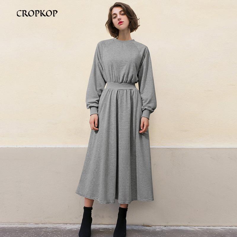 Vintage mi Longueur Sweat-shirt à manches longues robe femmes taille élastique solide Taille en vrac plus 5XL Robe Femme Noir élégant