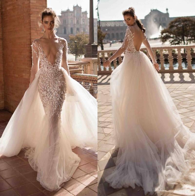 2020 Berta Un Vestito Linea Sposa Backless Beach nuziale profondo scollo a V con maniche lunghe overskirt Appliques vestidos de noiva sexy abiti da sposa