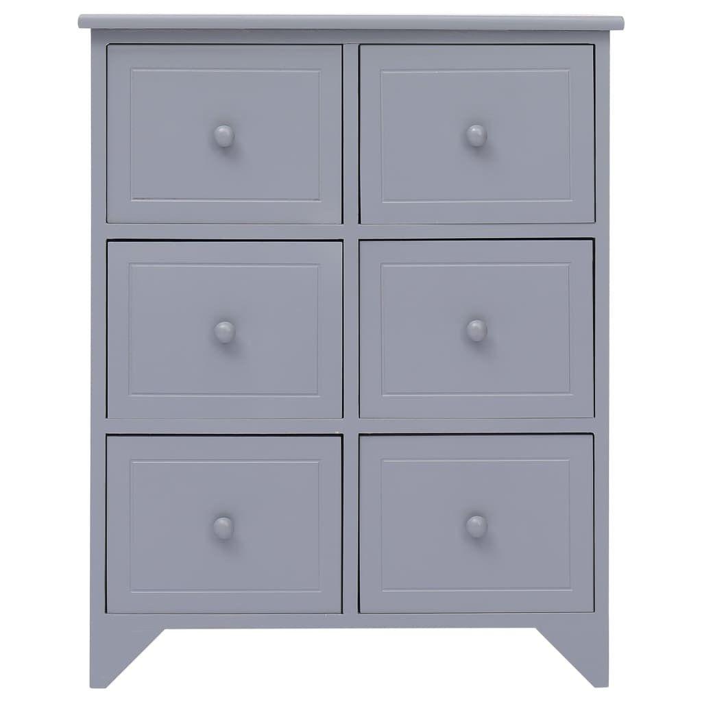 armario auxiliar 6 cajones de madera de Paulownia gris 60x30x75 cm muebles de la sala de estar