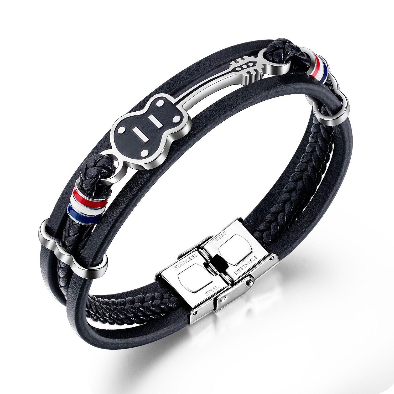 мужские браслеты для черной нержавеющей стали PUNK вязаные браслеты PU кожаный регулируемый хип-поп электрической гитары ручной цепи мужской украшения для подарков