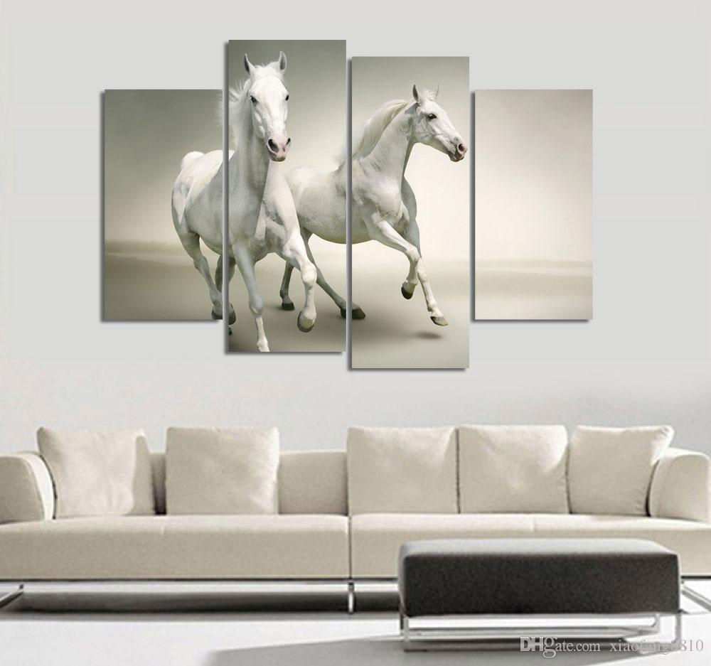 4шт прохладный работает черная лошадь настенная живопись реалист животных холст Живопись Home Wall Decor Art Print livingroom Hotel Workshop