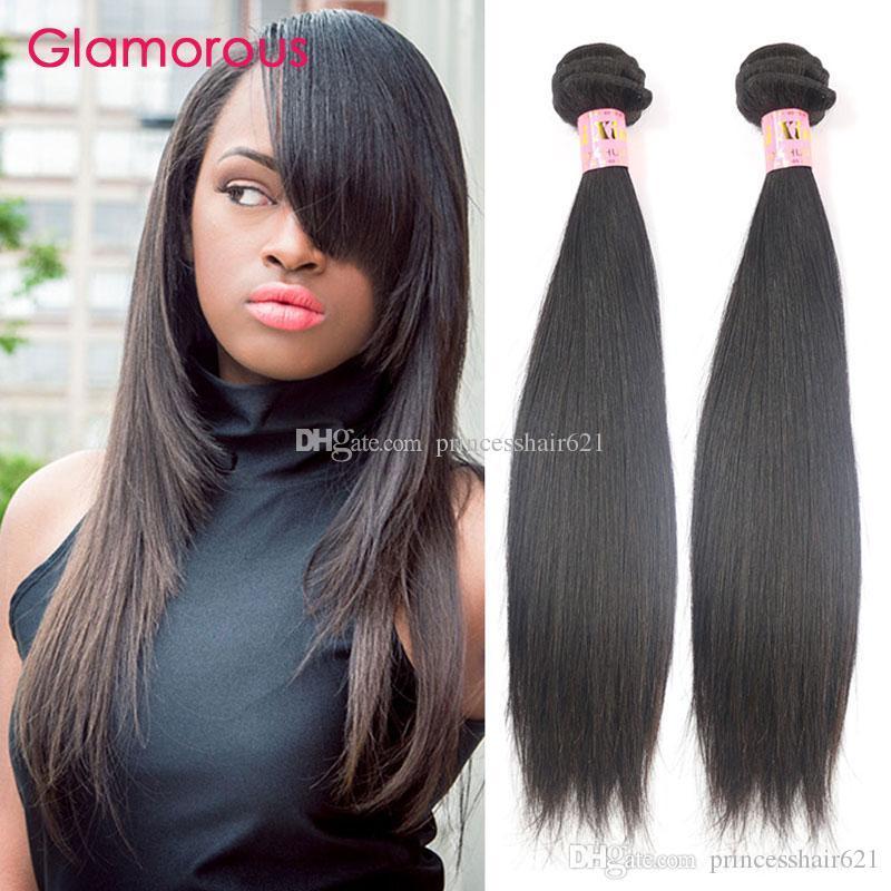 Glamour brésilien cheveux trame de haute qualité péruvien indien malaisien virigine cheveux 8-34inch pas cher brésilien droit cheveux cheveux cousez dans le tissage