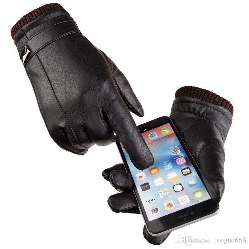 رجل PU قفازات جلدية كاملة اليد لمس تغليف هدايا قفازات الباردة الطقس لركوب الدراجات الهوائية ومراكز لياقة العمل