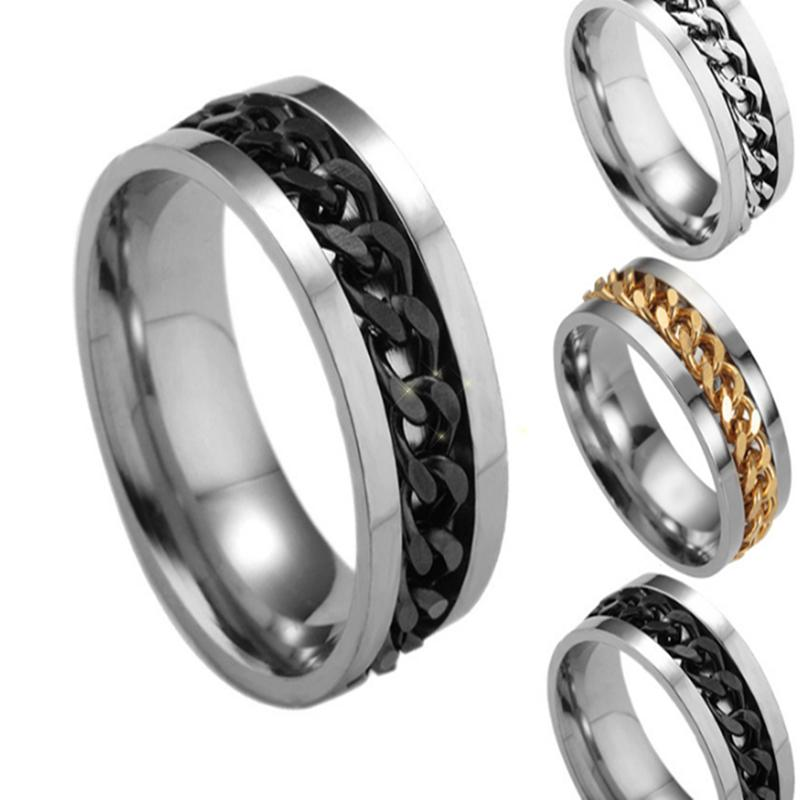 Men's Silver Golden Black Blue tone Stainless Steel Chain spinner fashion Jewelry Rings high grade GHN38