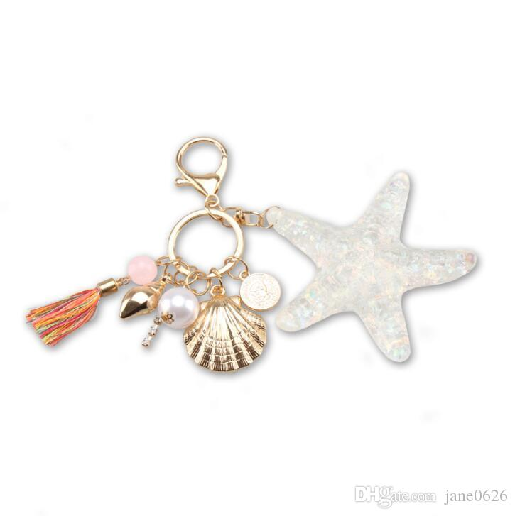 New Starfish Keychains Creative Liushu Automotive Accessories Alloy Ladies Bag Accessories Accessories for Automobile Pendants FREE SHIPPING