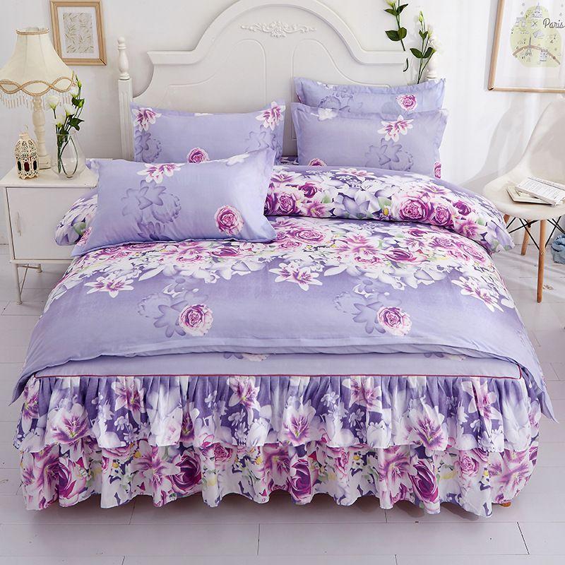 trapunte da letto progettista imposta Flower Stampa Cotone 4pcs Insiemi dell'assestamento del progettista compreso Copripiumino Federa Bedding Sheet