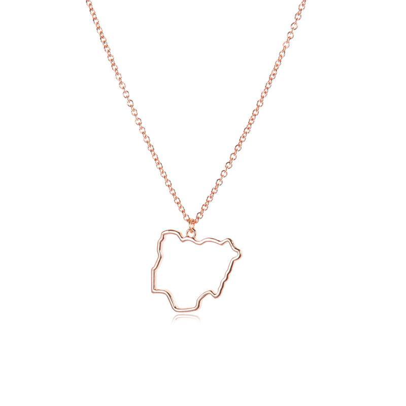 10 Collier Pays creux carte Nigeria géographie Outline Etat ville insulaire Afrique pendentif souvenir Hometown Collier Bijoux