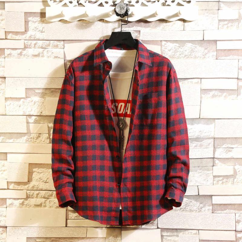 Vintage Male Hemd Plaid Long Sleeve Spring Fashion Schwarz Weiß Rot beiläufige Mens-Checkered Weihnachten stilvolles Hemd für Menb50