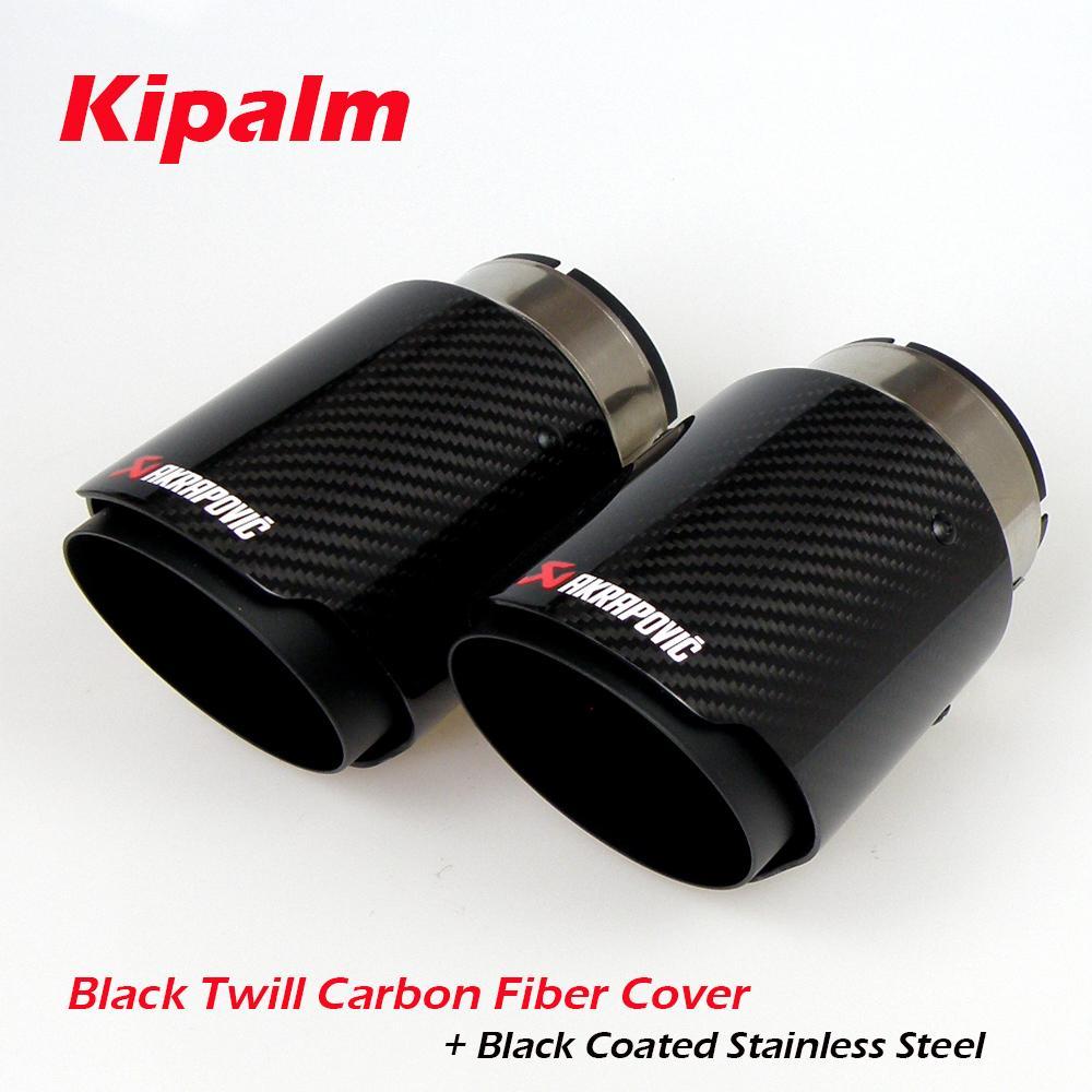 Tuyau d'échappement de voiture universel en fibre de carbone Akrapovic Astuce Brillant Couverture en fibre de carbone Twill + acier inoxydable enduit noir