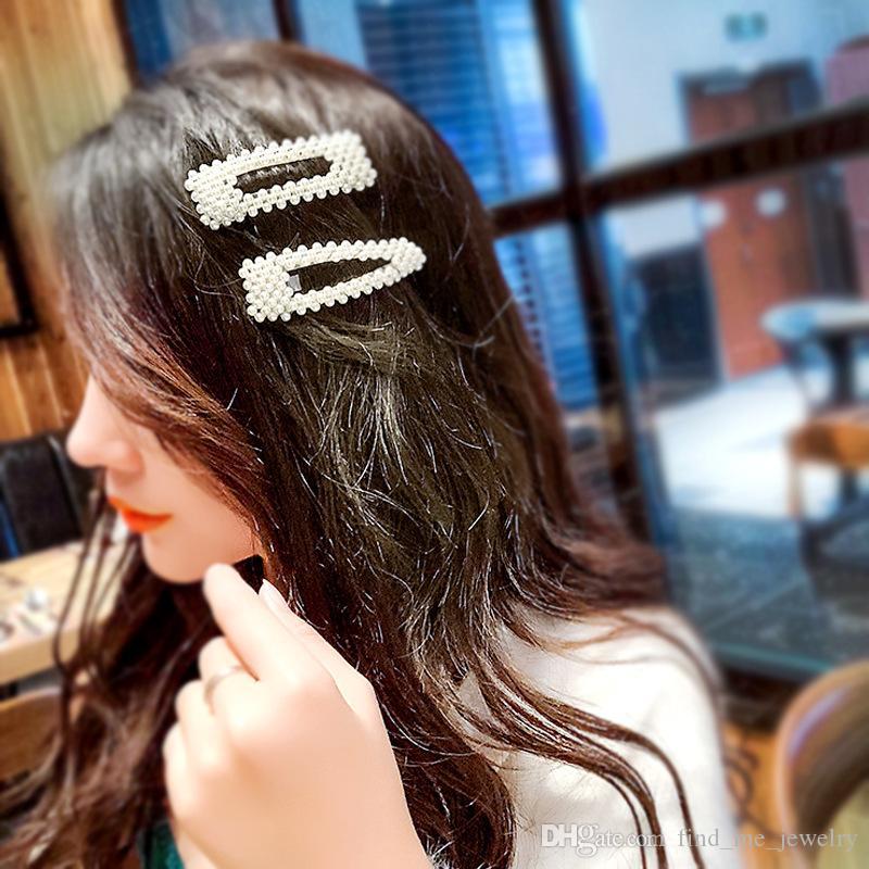 Semplice imitazione perla clip di capelli per le donne regalo carino geometrica in lega di oro placcato Barrettes accessori per capelli moda capelli all'ingrosso
