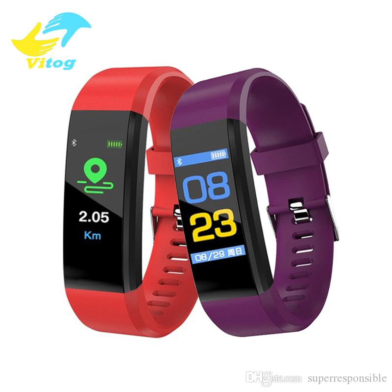 Vitog Fitness Tracker ID115 PLUS Smart Bracelet with Heart Rate Smart Watchband Wristband for IOS Android Cellphones with Box
