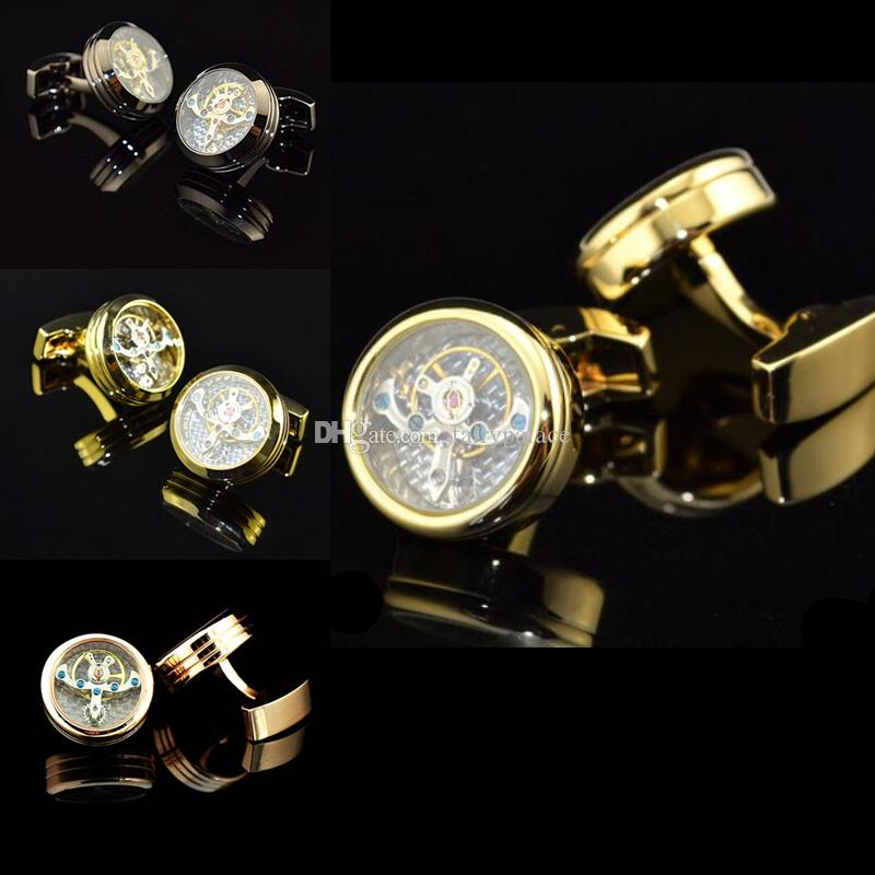 2019 Hot Mechanical Watch Movement Steampunk Mens Wedding Vintage Gold Plated Cufflinks Sleeve Nail French Business Shirt Cuff Links Gift