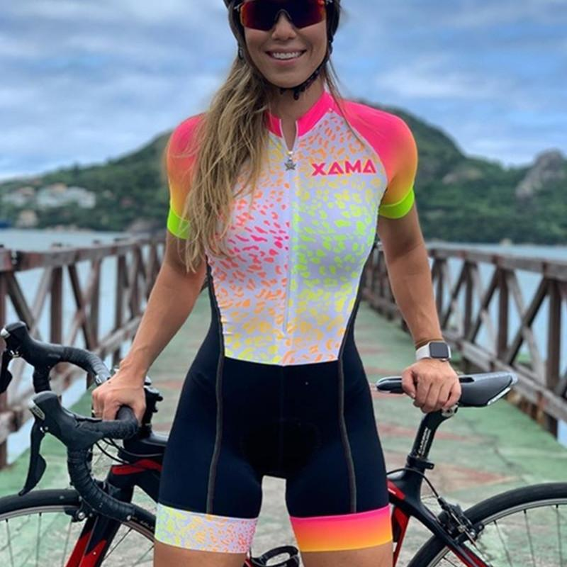 XAMA Trisuit triatlon uymak yaz kadın kısa sleeve bisiklet tulum ropa ciclismo bodysuit speedsuit professionelle skinsuit