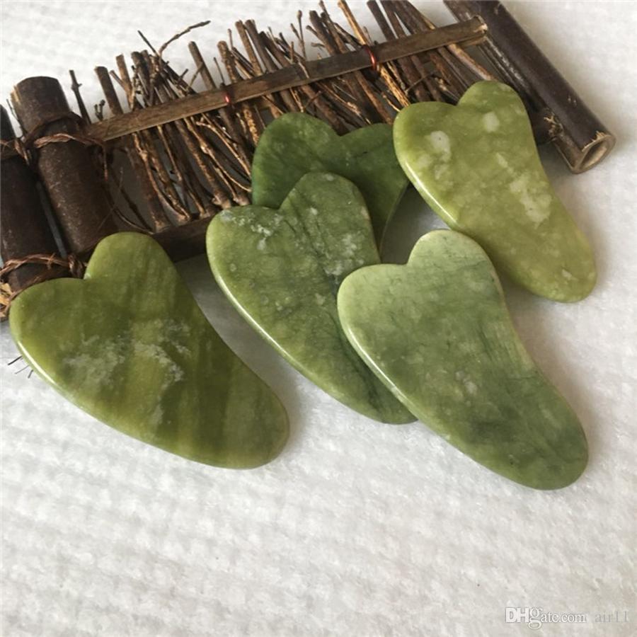 100pcs Jade Massage outil Guasha Conseil Gua Sha visage naturel Jade Pierre Grattage de soins en santé Outil