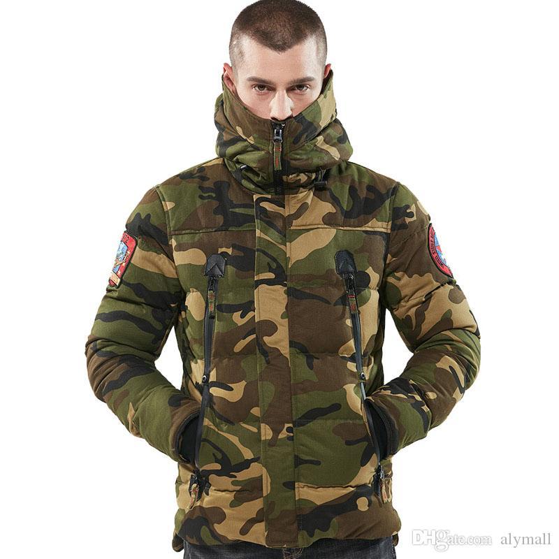 Homens Jaquetas Inverno Cotton Camo Overcoat Mens Camouflage Casual Homens Jaquetas e casacos Atacado