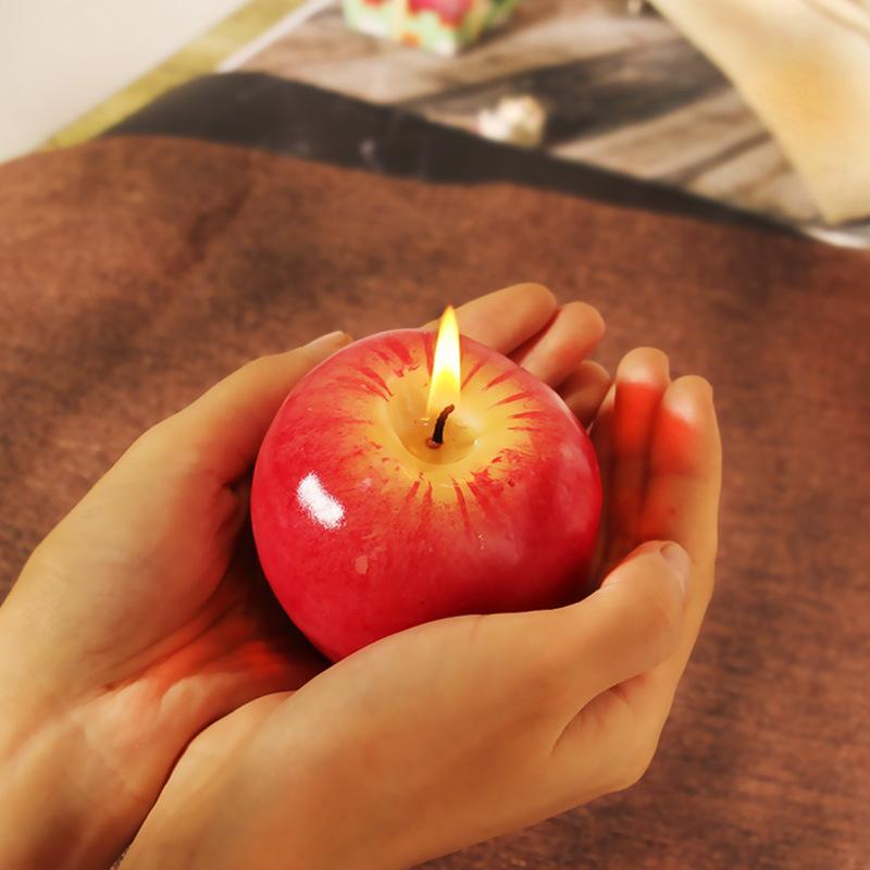 شكل S / M / L التفاح الأحمر شمعة مع صندوق الفاكهة الشموع المعطرة مصباح هدية عيد ميلاد الحزب زفاف عيد الميلاد الديكور المنزلي بالجملة DBC BH2693