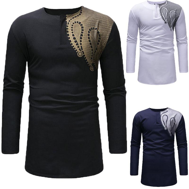 Palangre Botón delgado de algodón camiseta henley de los hombres de impresión de color empalmado O cuello de la camiseta de manga larga blusa Top para los hombres grandes más tamaño