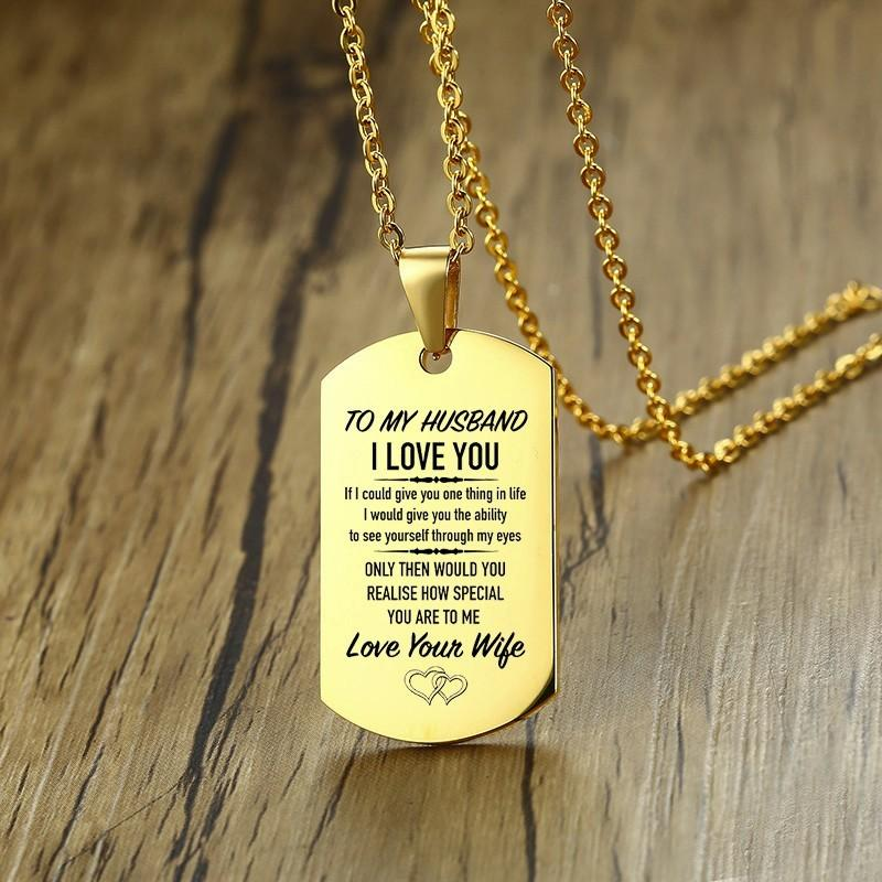 Golden Stainless Steel Husband Necklace To My Husband Dog Tag Pendant with Chain 20 inch Engravable Gift on Birthday Anniversary