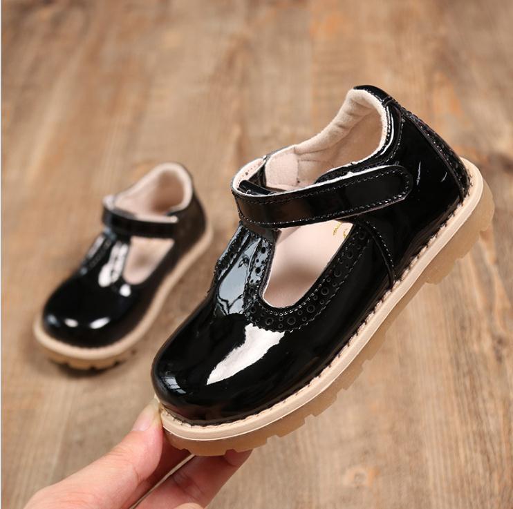 Zapatos para niños Niños en crecimiento de piel zapatillas muchachas del resorte de manera ocasional princesa zapatos planos Tamaño 21-30
