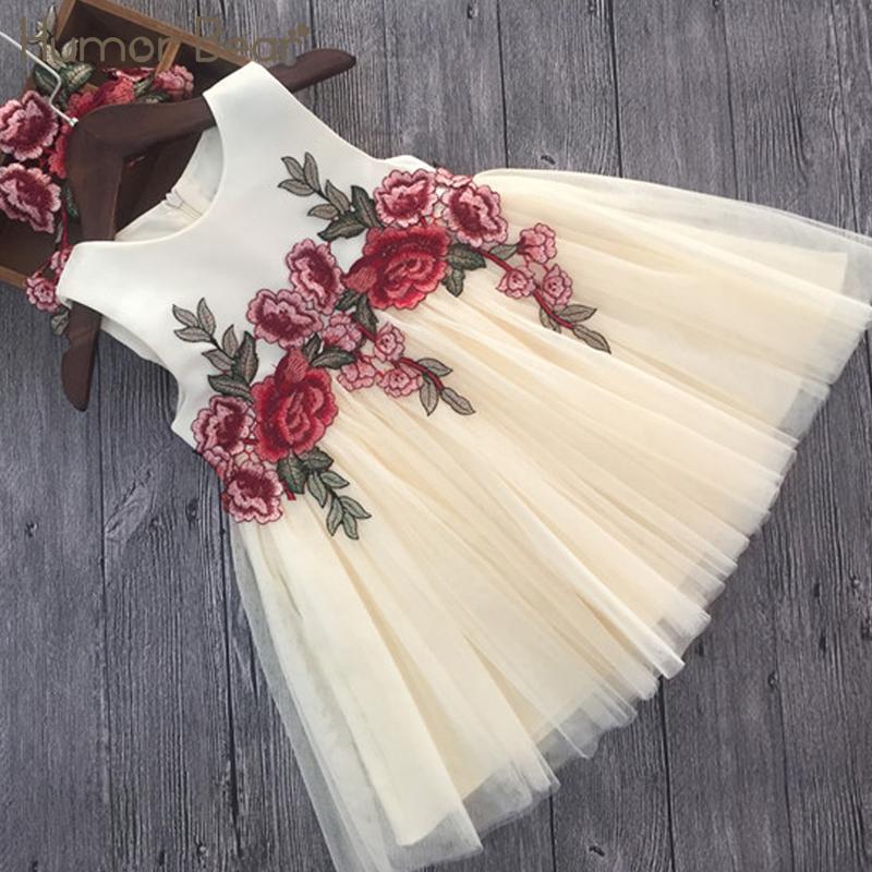 유머 베어 여자 드레스 2018 여름 스타일 여자 옷 민소매 자수 디자인 아동 키즈 공주님 드레스 J190611