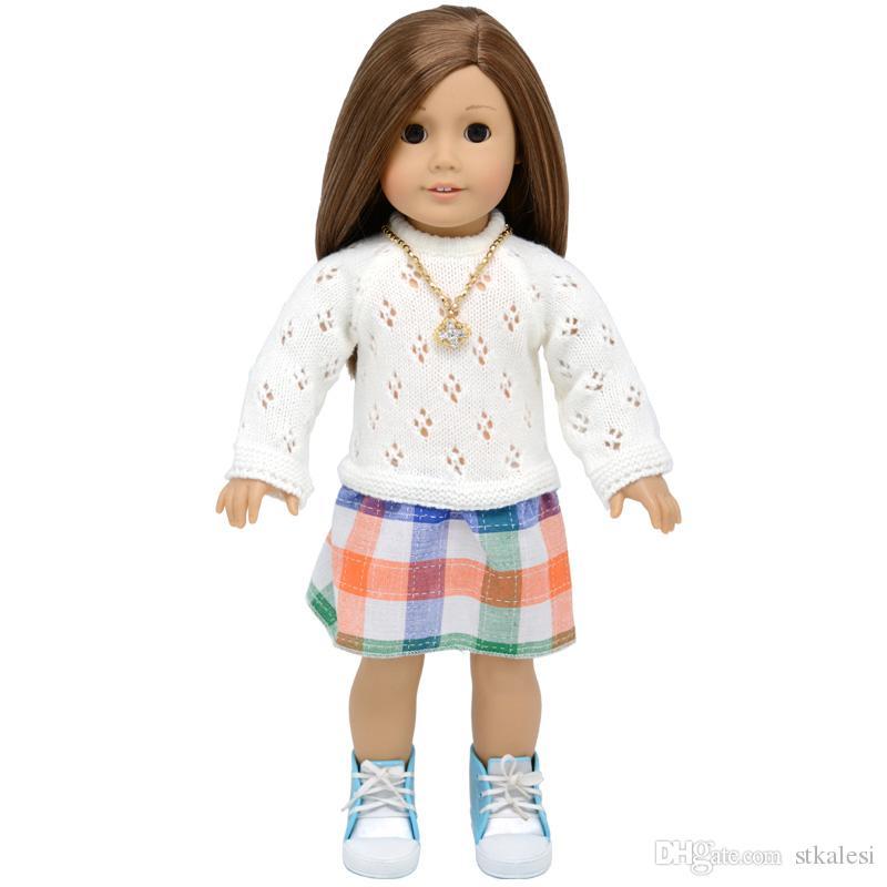 çocuk parti hediye oyuncaklar için Tek Piece16 ~ 18 inç bebek Bebek Giyim Aksesuar kazak Elbise - 18 inç American Girl bebek giysileri