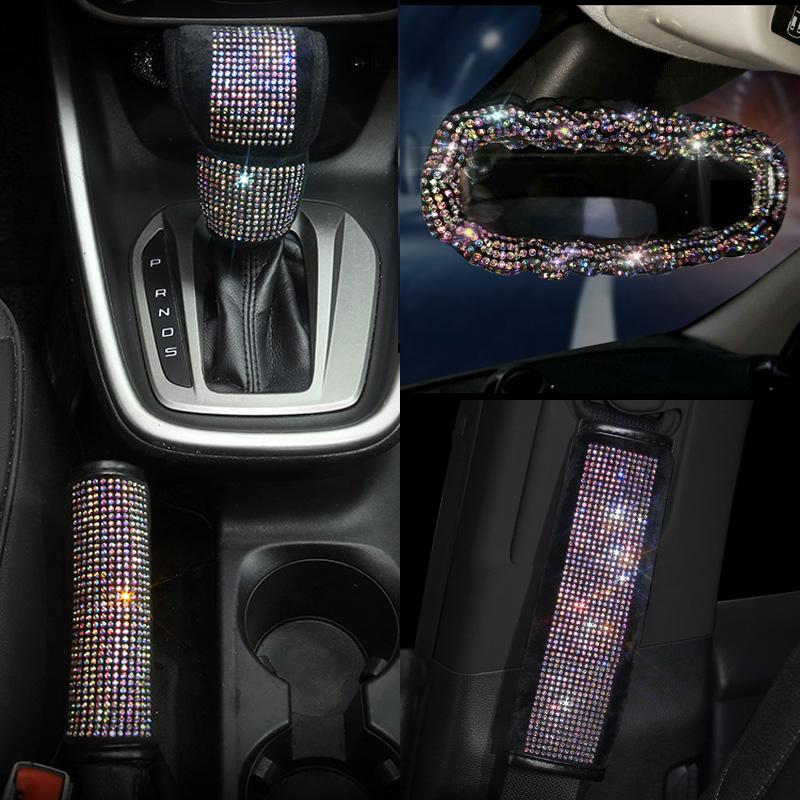 Pinbola 2 Packs Bling Bling Seat Belt Shoulder Pads Luster Crystal Car Seatbelt Covers Diamond Car Decor Accessories for Women