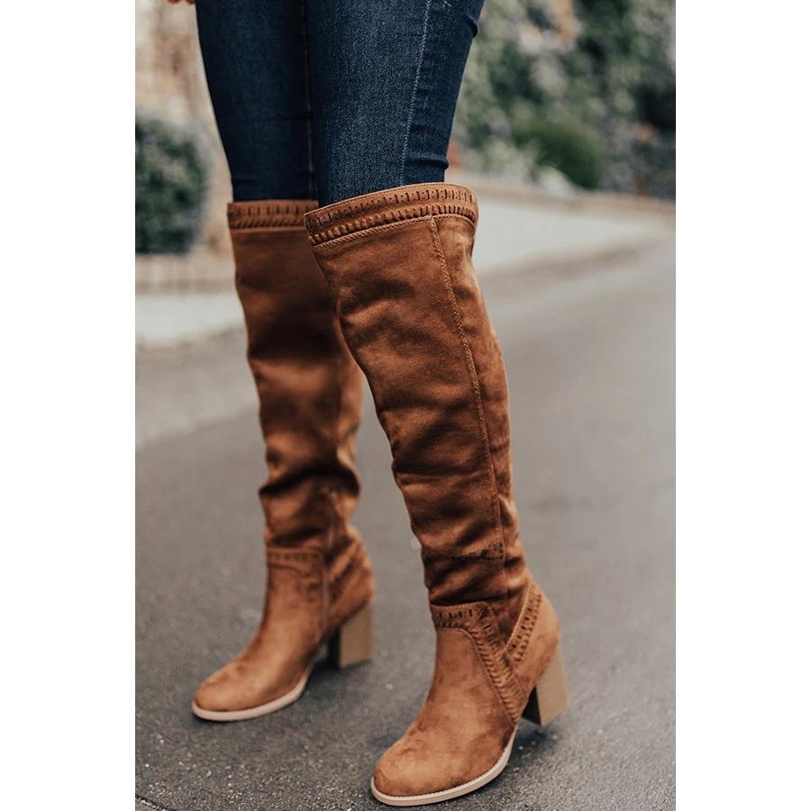 Puimentiua 2020 das mulheres dos saltos sobre o joelho alta botas casco Inverno sapatos bicudos Toe Sexy tecido elástico Botas Mulheres Tamanho 35-43