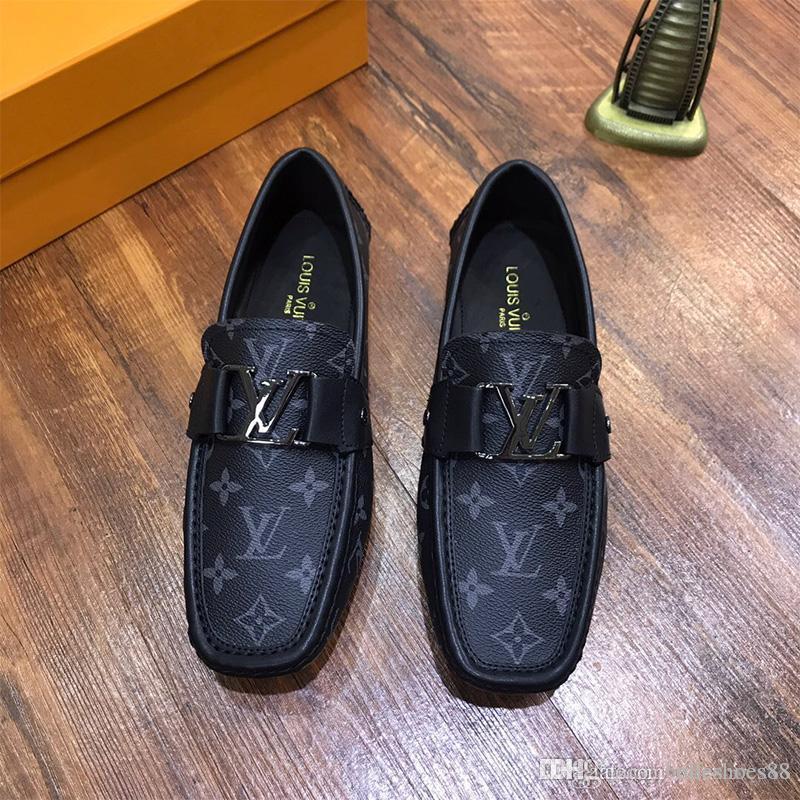 Vente chaude nouveaux chaussures habillées en cuir impression mensclassic métal pois mange-mariage chaussures chaussures de conduite Flats Mode Voyage de haute qualité