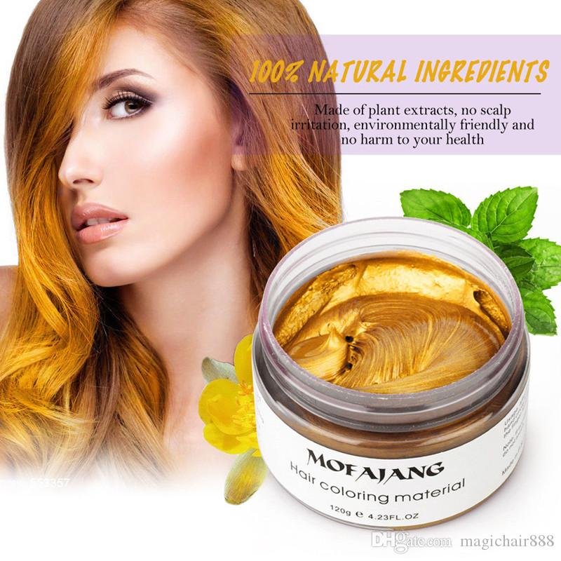 MOFAJANG Couleur temporaire Cire Coiffe de Couleur 120g Strong Hold Hair Pomade Easy Wash 7 couleurs Fashion Cosplay