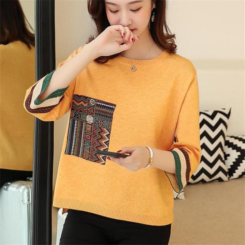 New Arrival Knitted Women Pull Femme Indie Folk 2020 Fashion Sweater Tops Knitwear Yellow Loose Knitwear Jumper