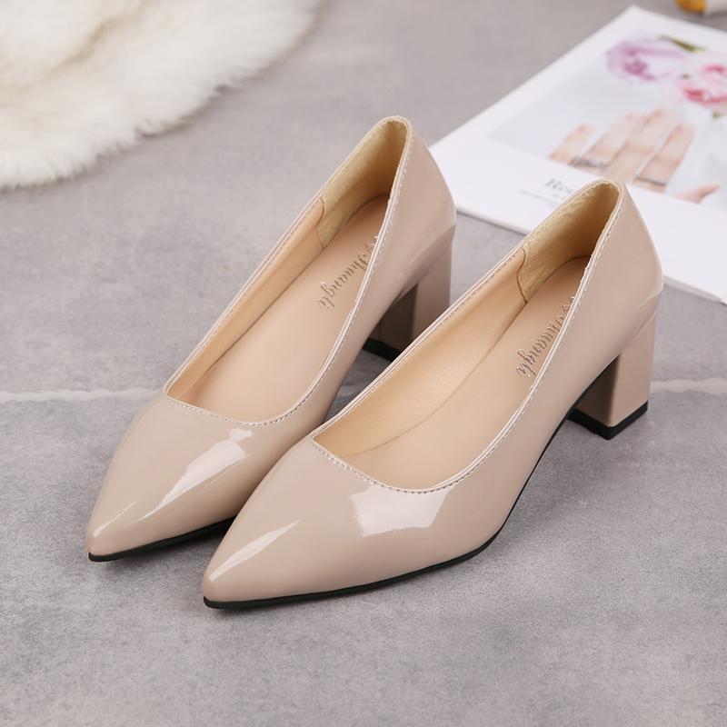 2020 Yeni Zarif Kadın Sonbahar Sivri Tek Ayakkabı Kadın Sandalet U14-96 Siyah Yüksek topuklu Lady Rugan Kalın pompaları