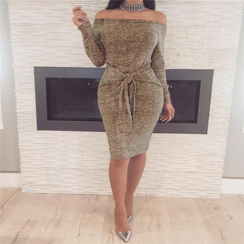 El resorte de las mujeres Vestidos Vestidos de época vestidos de fiesta de noche atractivo elegante con Slash cuello Casual Club de vestido del vendaje de Ropa para Mujer